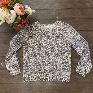 Splendid leopard print long sleeve pull over shirt